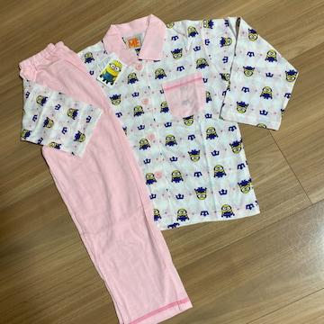 新品タグ付き120薄手長袖パジャマ ミニオン ピンク�H