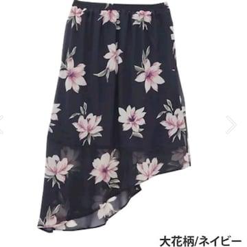 3L4L5L¥3551新品☆花柄アシメスカート17