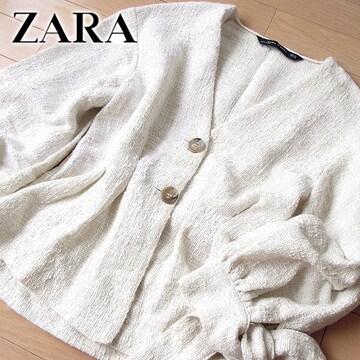 超美品 (EUR)XS ザラ ZARA WOMAN ツイードペプラムジャケット