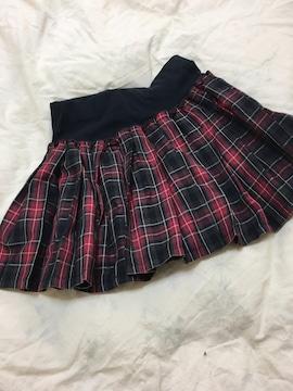 赤チェック柄のミニスカート☆タンス整理品