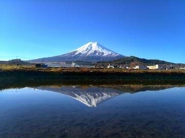 世界遺産 富士山 写真 水田逆さ富士 A4又は2L版 額付き