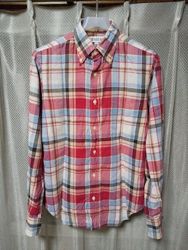 individualized shirts 長袖シャツ 14 1/2-32 S チェック柄 赤+白 USA製