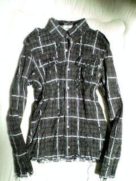 ROENロエン 皺加工レオパードスカルチェックレザーシャツジャケット 48