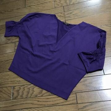 新品ヴェルメイユ パー イエナパフスリーブカットソーブラウス紫