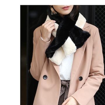 衝撃690円セール★クロスデザインフェイクファーマフラー黒白