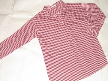未使用☆Vネックオーバーサイズシャツ*レディース*ギンガム赤