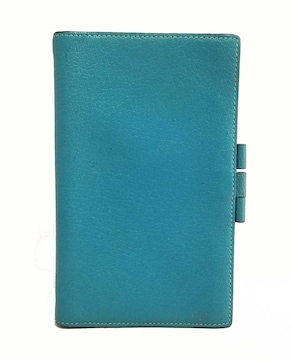 正規エルメス手帳カバーヴィジョンブルーグリーンアシ