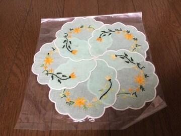新品未使用ベトナム土産ホーチミン購入花柄刺繍コースター