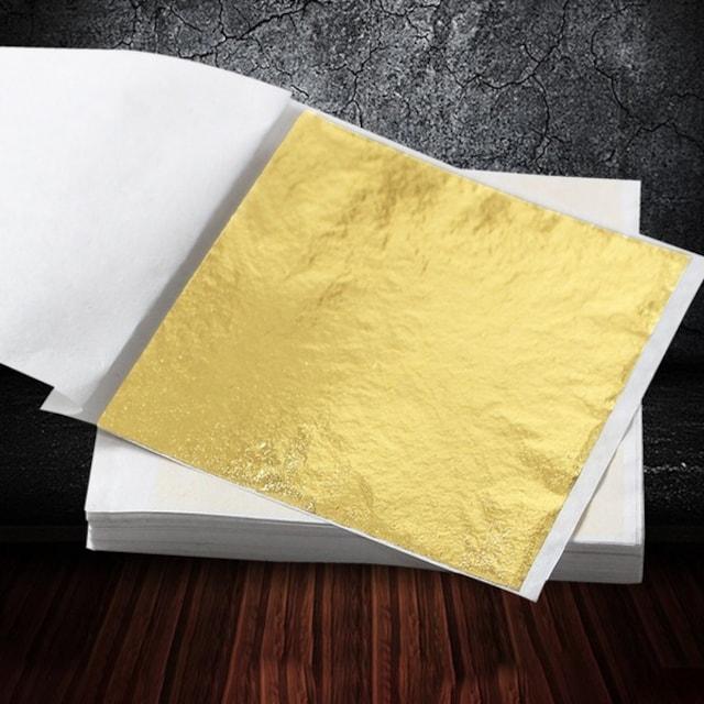 金箔紙 金箔シート 工作 美術 フェイクゴールド 85mm×81mm 100  < ホビーの