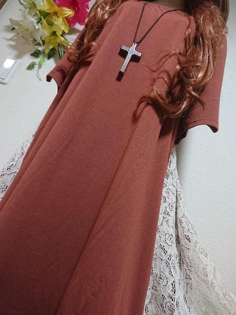 ★新品タグ8L★サイドレース★イレギュラーチュニ < 女性ファッションの