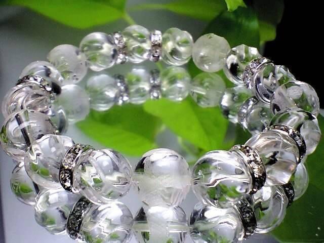 五ポイント龍彫り水晶&トルネ-ド彫りクリスタル高級水晶12ミリ数珠 < 女性アクセサリー/時計の