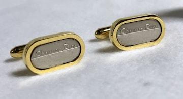 正規 ディオール Christian Diorロゴ文字オーバルカフス 金×銀カフリンクス ボタン