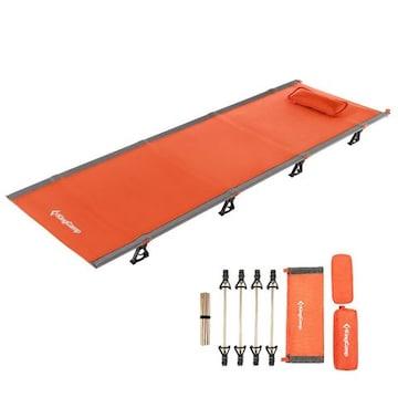 アウトドア 折りたたみベッド 枕と収納バッグ付き 軽量 オレンジ