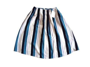 新品 定価7900円  TRUDEA 青 ボーダー フレア 膝丈 スカート S