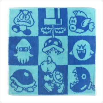 タオルハンカチ ブルー (スーパーマリオ) 綿 100%★新品未開封
