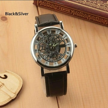 新品 激渋 腕時計 スケルトン 黒 シルバー