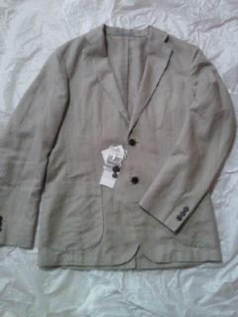 UNIQLO ユニクロ リネンコットン シンプル ジャケット ブラウン Sサイズ 軽い 柔らかい  < 男性ファッションの