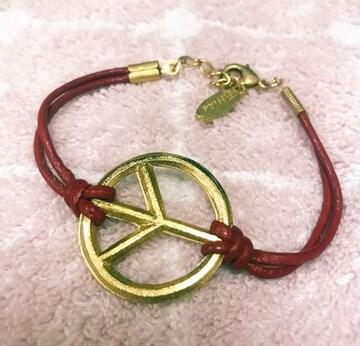 Ettika レザーブレス ゴールド&レッド ピースマーク新品 半額