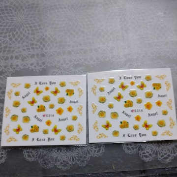 蝶々/薔薇黄色ウォーターネイルシール2枚E314