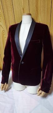 国内正規 サンローランパリ スモーキング ベルベットジャケット 黒 ワイン 36 スペンサーJK