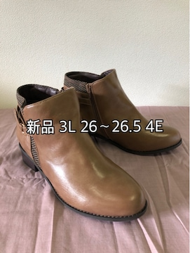 新品☆3L26〜26.5�p4E茶系ベルト飾りショートブーツ☆j143