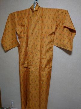 #訳あり、処分値下げ!USED、アンサンブル着物、紬、羽織紐付、黄色柄
