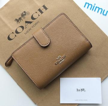 【新品】COACH コーチ 二つ折り財布 ライトブラウン サドル