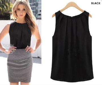 シフォンノースリーブ ブラウス黒 * Mサイズ 韓国ファッション