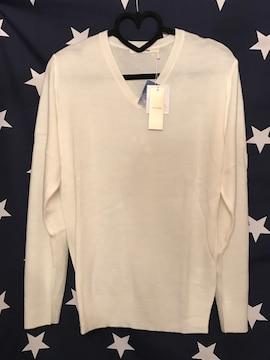 Vネック 薄手 セーター LL size ホワイト 白