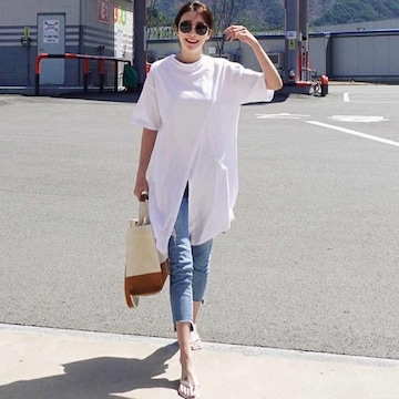 Y58即決 新品 ロング Tシャツ 白 M エモダ イング GU セシル ユニクロ 好きに