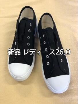 新品☆26.0cm紐なしスリッポンスニーカー 黒系☆j353