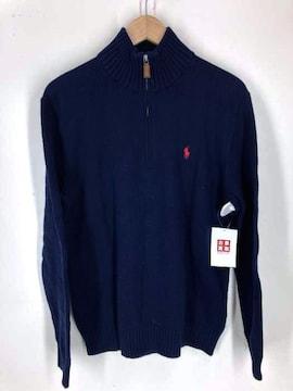 Polo by RALPH LAUREN(ポロバイラルフローレン)刺繍入り ハーフジップ コットンニット