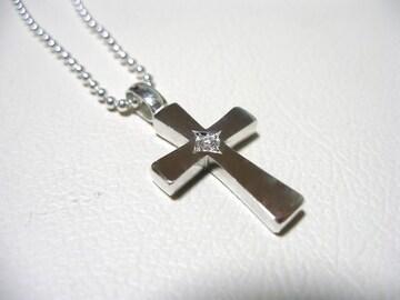 仁尾彫金『一つ星ダイヤフラットシルバークロス』90