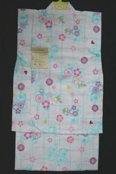 子供用高級浴衣★女の子100★白地格子ブルー蝶と花ゆかた