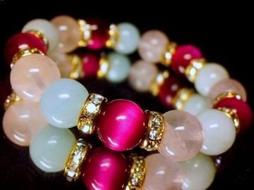 ピンクタイガーアイローズクォーツ§アクアマリン10ミリ金ロンデル数珠
