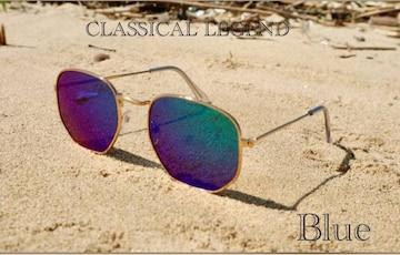 サングラス ミラー ブルー 伊達メガネ ゴールドフレーム UV400
