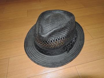 M エム ストローハット M 黒 リボン 麦わら帽子 TMT