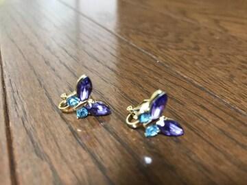 新品未使用 蝶々 バタフライ ブルー パープル イヤリング