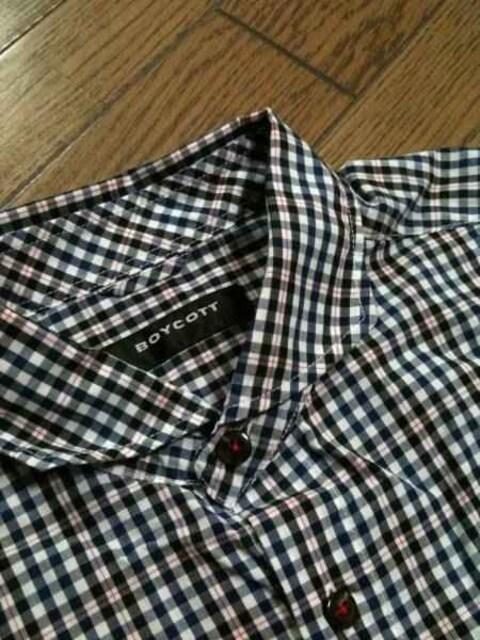 美品BOYCOTT 7分丈チェックシャツ ボイコット < ブランドの