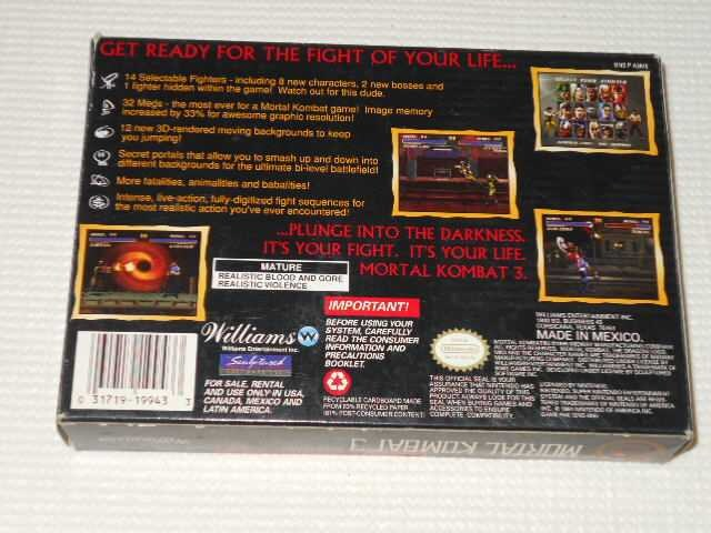 SFC★MORTAL KOMBAT 3 SNES 海外版 < ゲーム本体/ソフトの