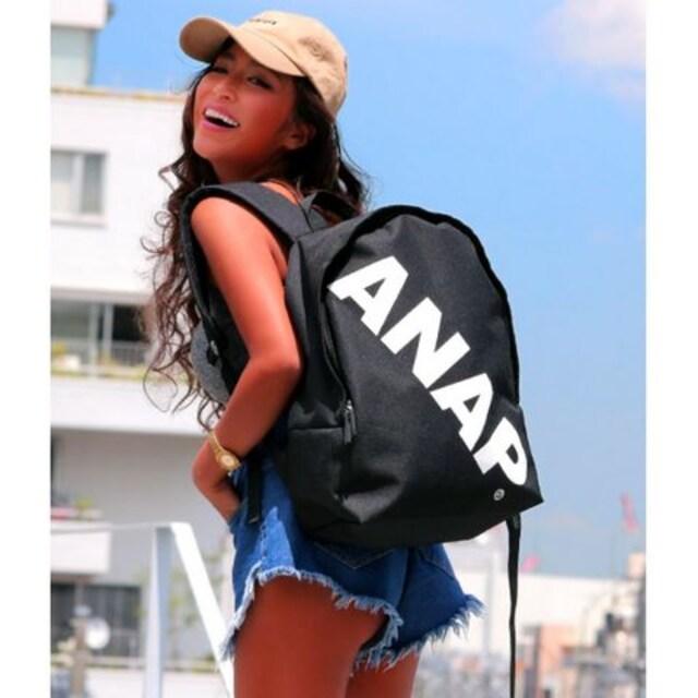 新品ANAP★斜めロゴ リュック 黒 バッグ アナップ  < ブランドの