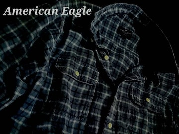 【アメリカンイーグル】Vintage Washed チェック ワークシャツ US−XL(XXL)Blue
