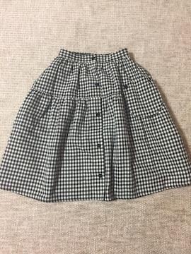 718.新品☆リバーシブルスカート☆ギンガムチェックと黒