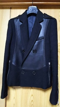 国内正規美 Dior Hommeディオールオム レザー切り替えライダースジャケット黒 38
