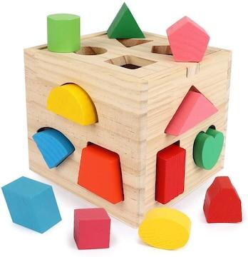 型はめパズルボックス 木製キューブパズル 型はめ遊び