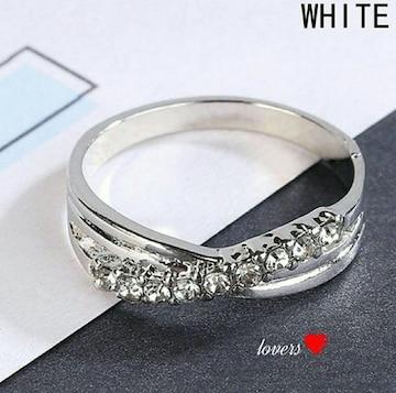送料無料14号クロムシルバークリアスーパーCZダイヤリング指輪
