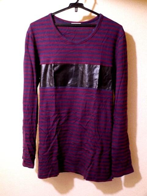 ◆ACNEアクネ レザー切替 ボーダーカットソー◆ニットジャケット  < 男性ファッションの