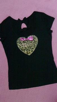 マーズMA*RS/ハート型ヒョウ柄リボン付き半袖Tシャツ激カワ
