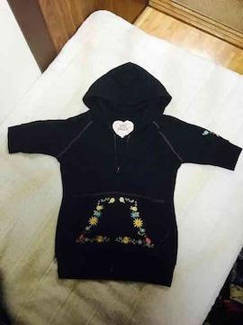お花刺繍 パーカー (黒)