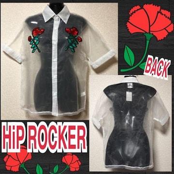 【新品/HiP ROCKER】オーガンジー薔薇刺繍入シアーシャツ